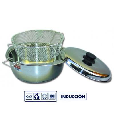 FREIDORA INOXIDABLE CON TAPA 24 CM